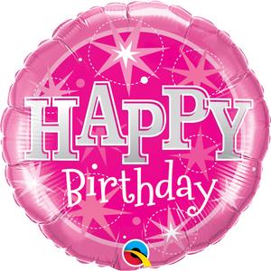 Globo Happy Birthday Rosado