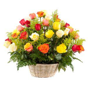 Canasta 36 Rosas Surtidas