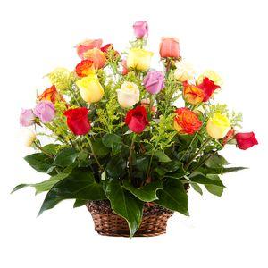 Canasta 24 Rosas Surtidas