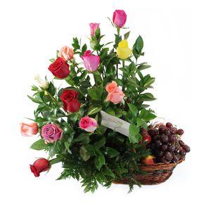 Canasta Frutas y Rosas