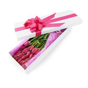 Caja  25 Tulipanes Fucsia