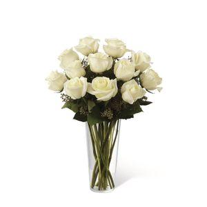 Jarrón de 12 Rosas Blancas