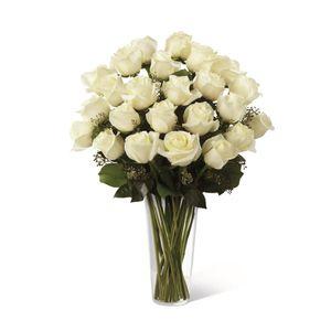 Jarrón de 24 Rosas Blancas