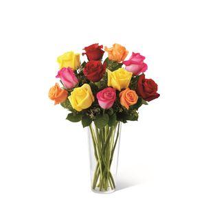 Jarrón de 12 Rosas Impresionista