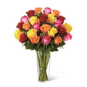 Jarrón de 24 Rosas Impresionista