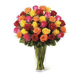 Jarrón de 36 Rosas Impresionista